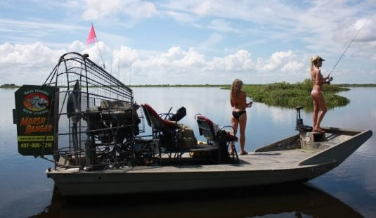 Airboat bass fishing