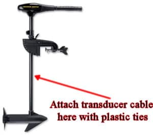 Trolling motor transducer cable location