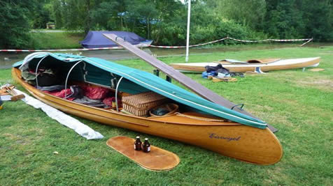 Canoe kitted out for on-water sleeping