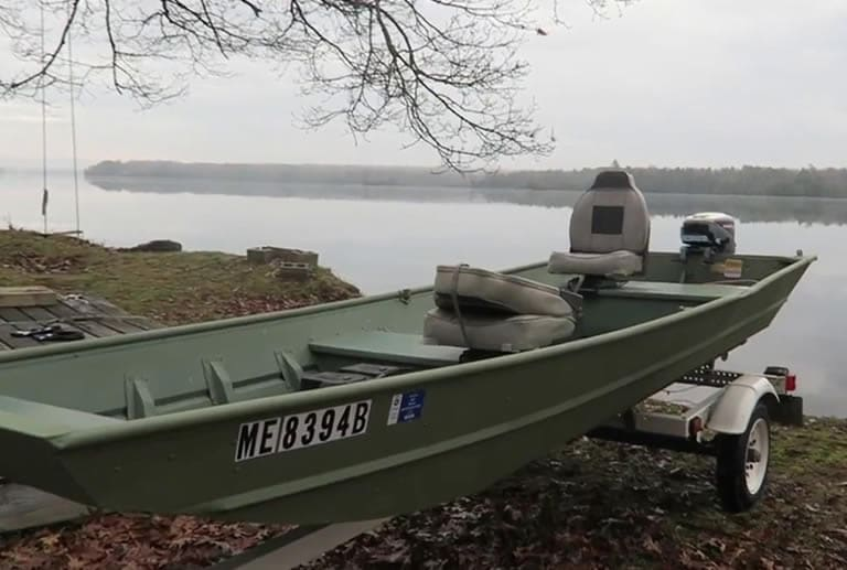 Jon boat with registration decal