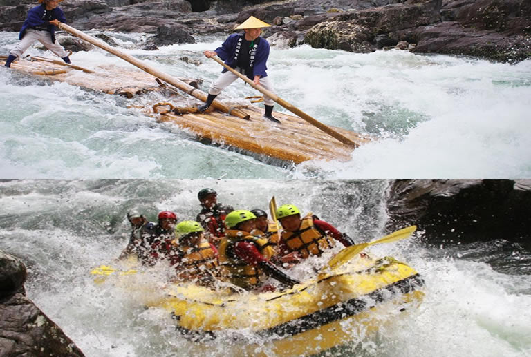 Traditional raft and modern raft on whitewater