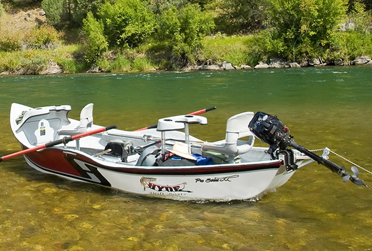 Drift boat with trolling motor mounted