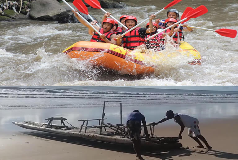 People using modern and traditional raft.jpg