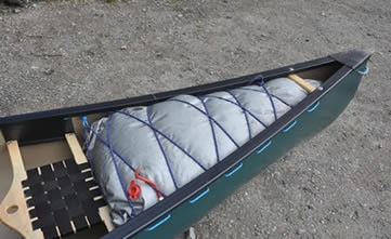 Air bags added to the end of a canoe
