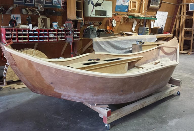 Drift boat being made in garage