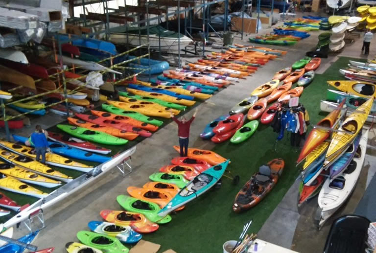 Used kayaks for sale in warehouse