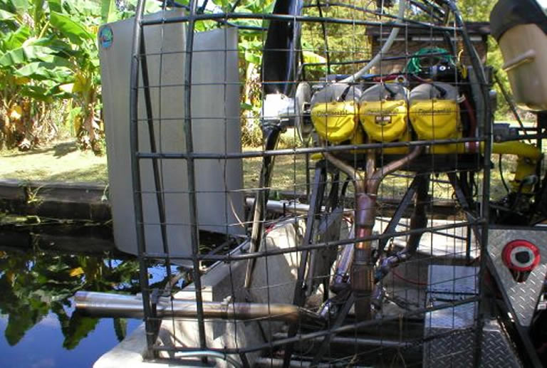 Mufflers on an airboat